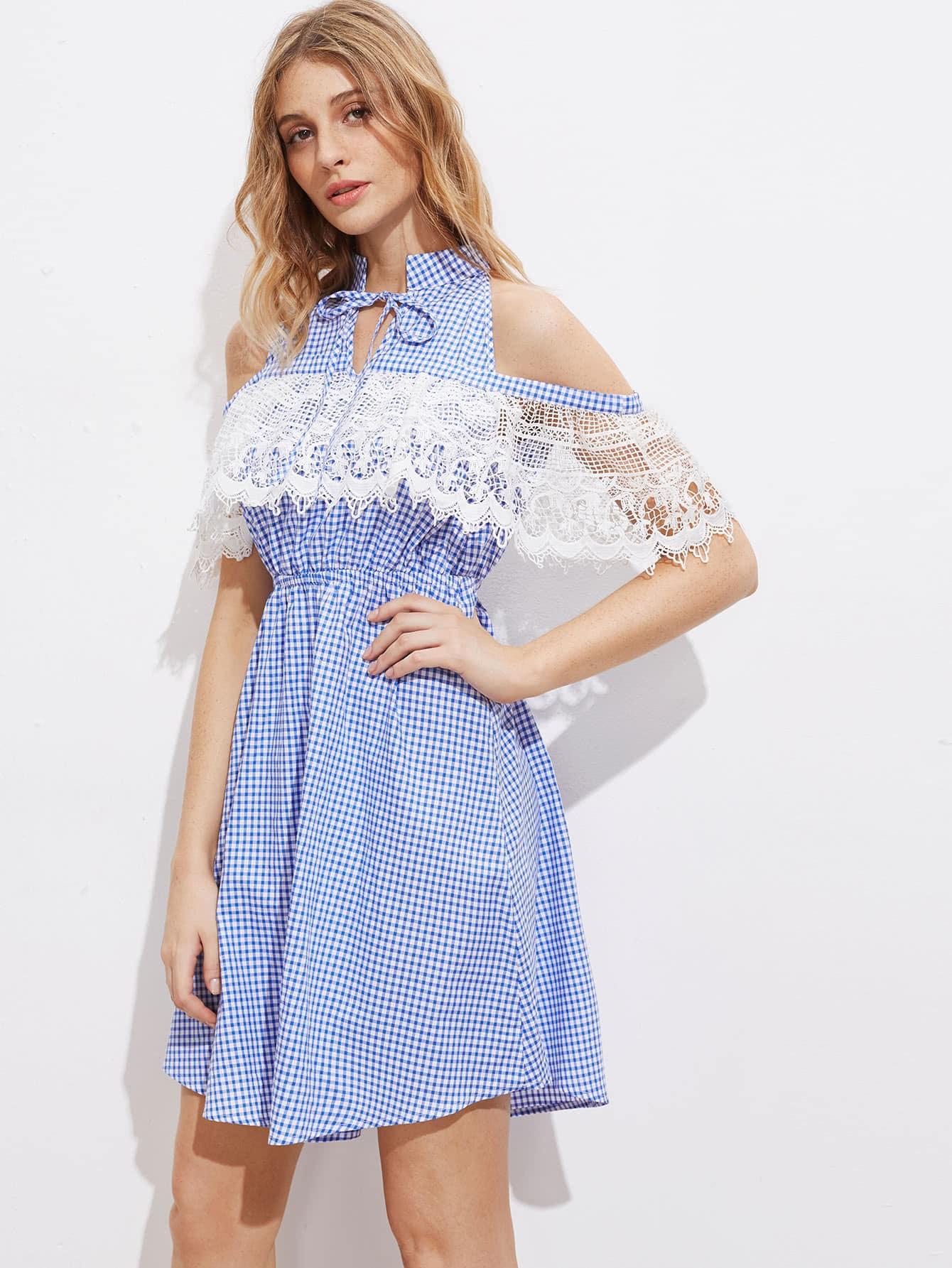 Фото Tie Neck Open Shoulder Lace Ruffle Trim Gingham Dress. Купить с доставкой