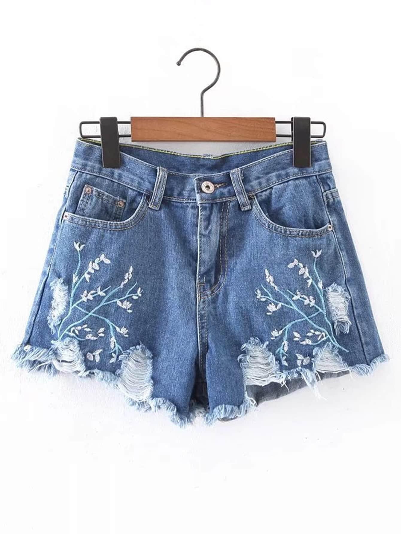 Фото Ripped Detail Embroidery Denim Shorts. Купить с доставкой