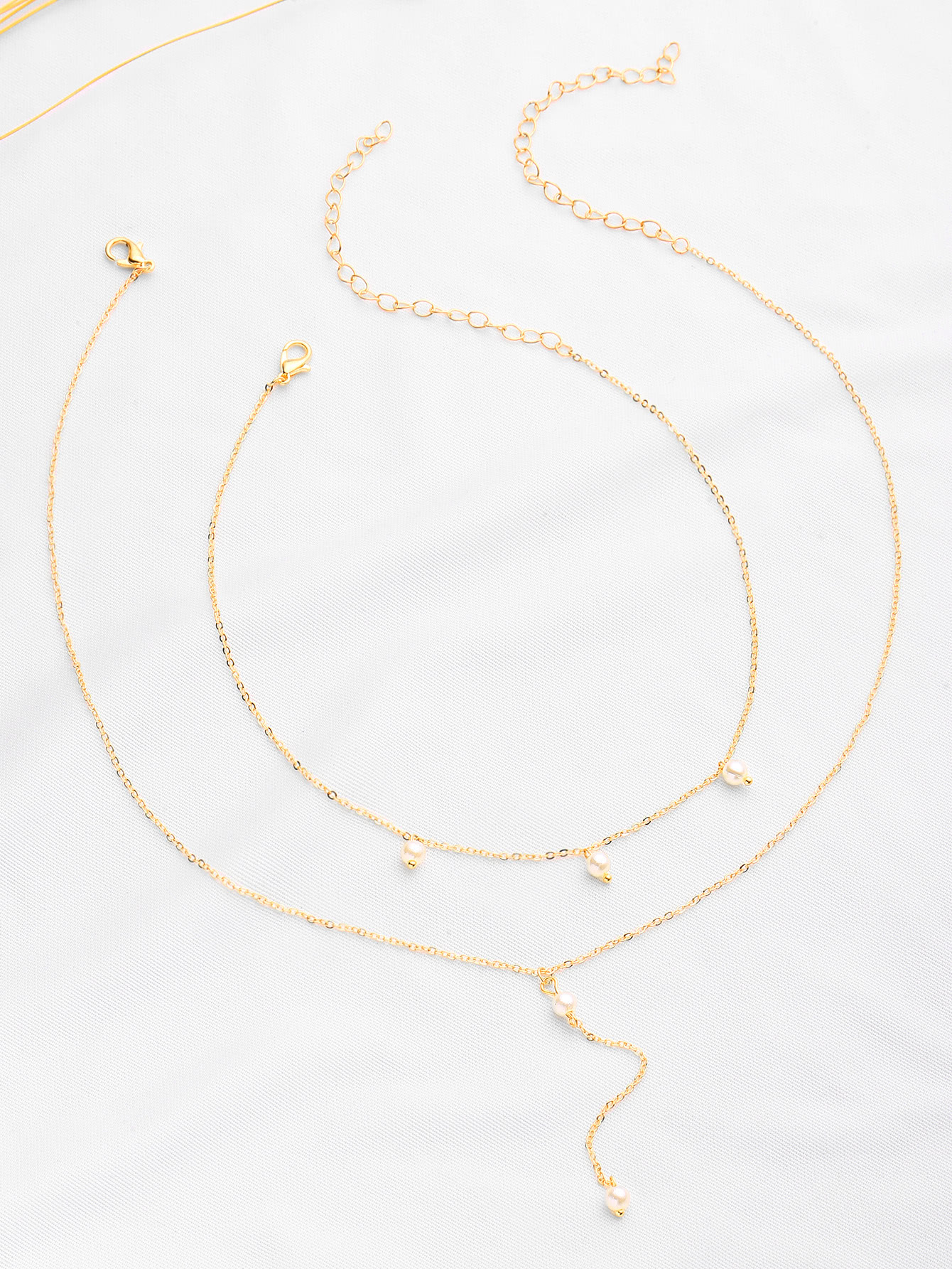 Фото Faux Pearl Embellished Chain Necklace Set. Купить с доставкой