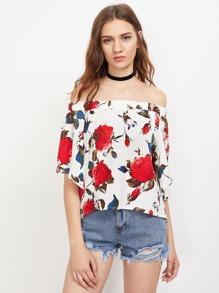 Bardot Floral Print Slit Back Dip Hem Top