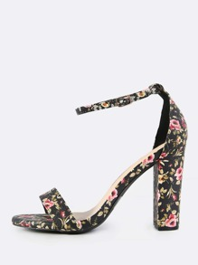 Faux Leather Floral Ankle Strap Heels BLACK