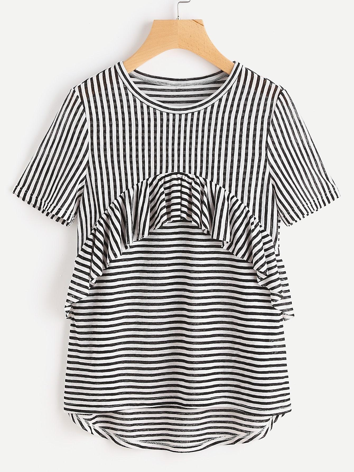 Фото Frill Trim High Low Striped T-shirt. Купить с доставкой
