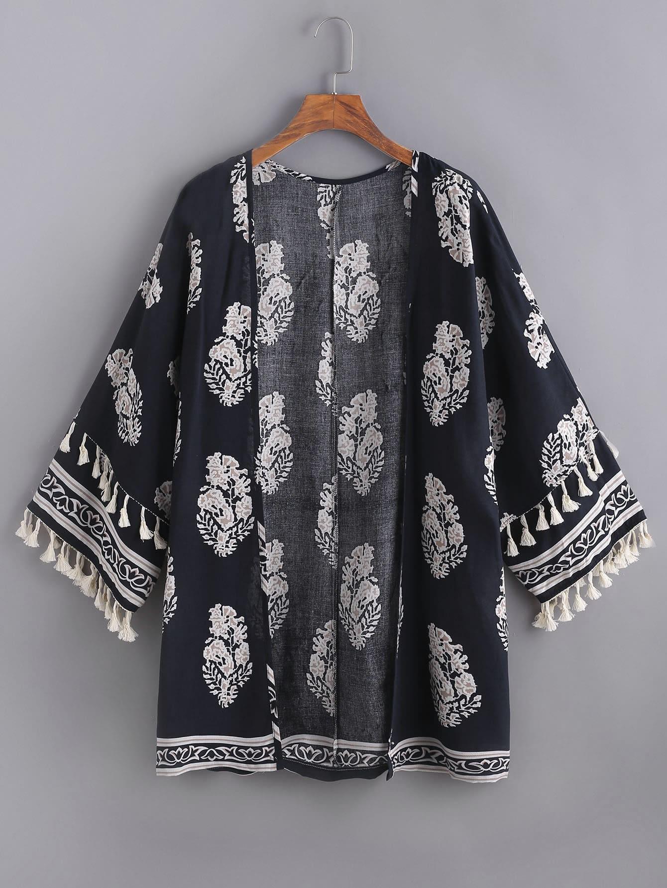 Фото Leaf Print Tasseled Trim Kimono. Купить с доставкой
