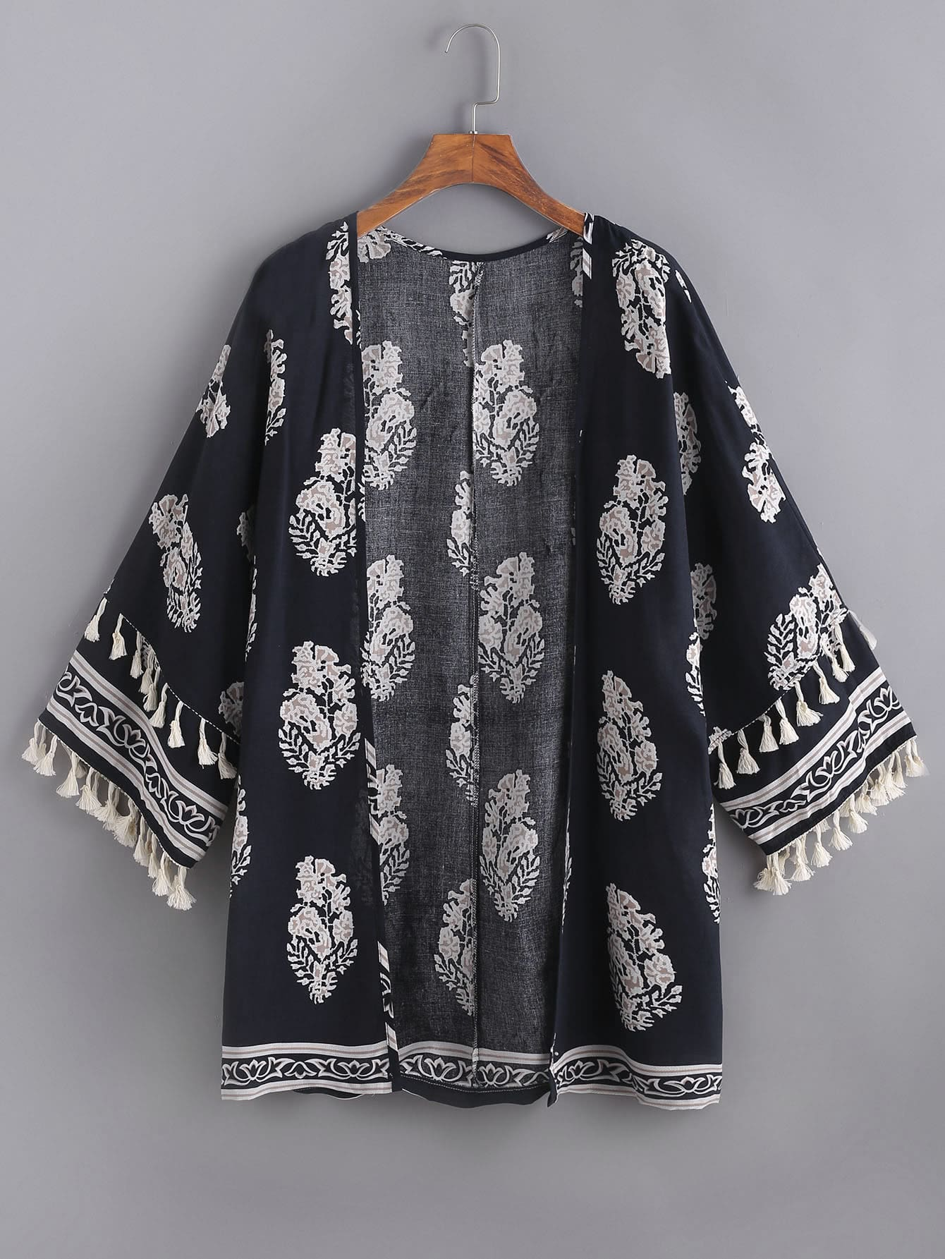 Leaf Print Tasseled Trim Kimono