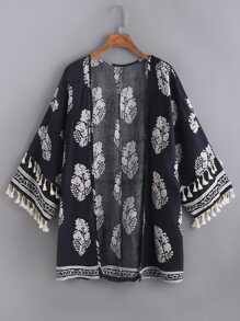 Kimono imprimé des feuilles découpé avec des franges