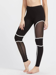 Mesh Panel Binding Detail Leggings