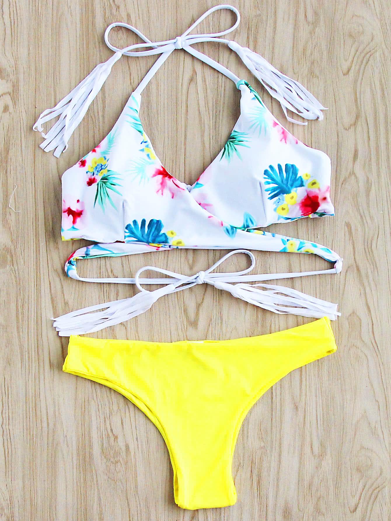 Calico Print Tassel Tie Wrap Bikini Set swimwear170523311