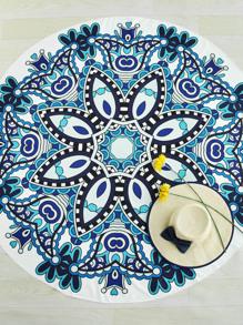 Модное круглое покрывало с цветочным принтом
