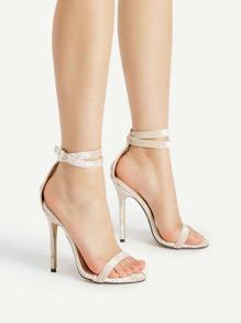 Sandalias de tacón de aguja en dos partes de terciopelo