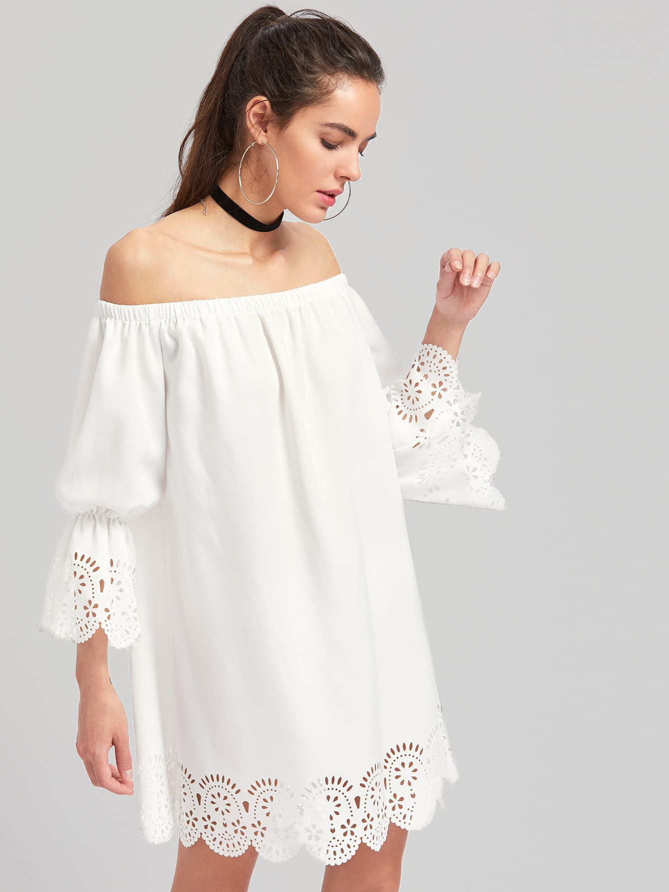 Фото Elasticized Sleeve Scalloped Laser Cut Bardot Dress. Купить с доставкой