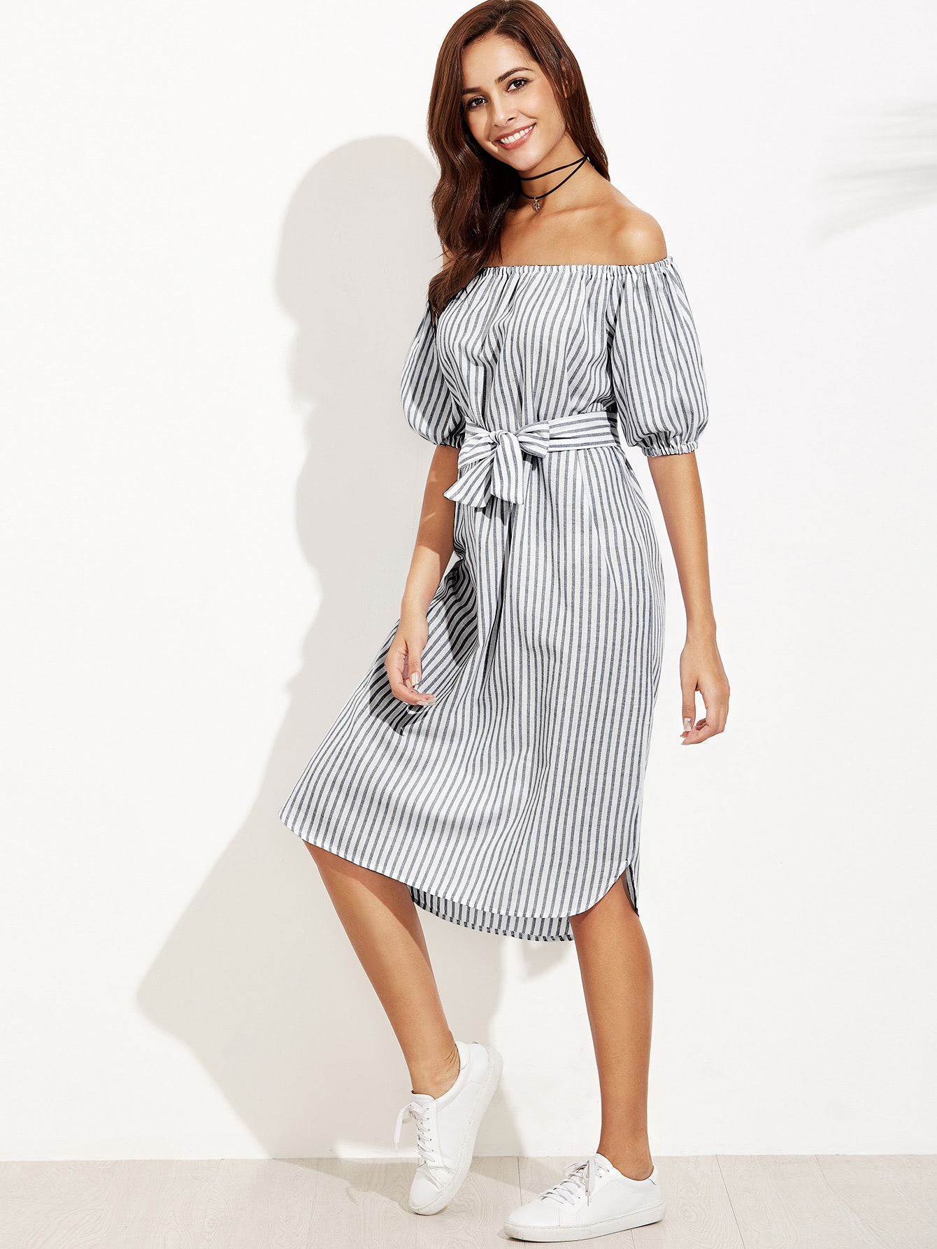 Bardot Lantern Sleeve Self Tie Vertical Striped Dress