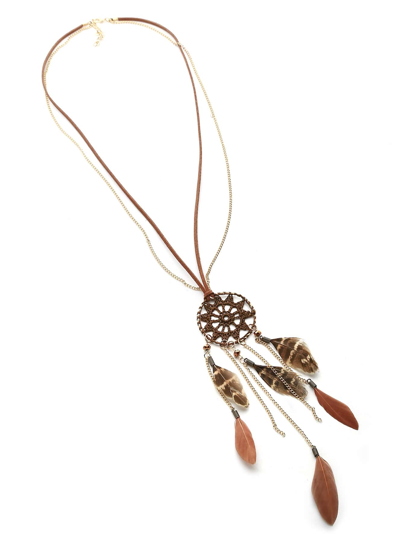 Dreamcatcher And Feather Vintage Necklace pastel chandelier beaded feather mobile dreamcatcher
