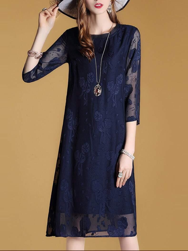 Фото Applique Pouf Sheer Sleeve Dress. Купить с доставкой
