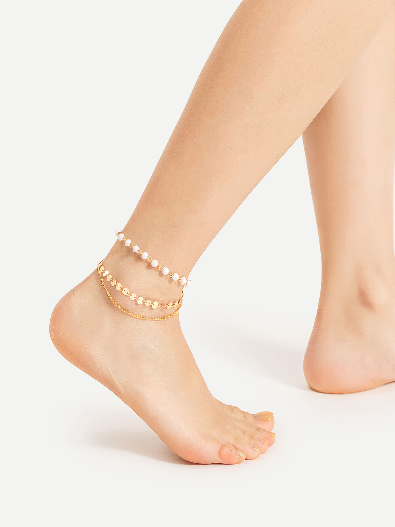 Фото Beaded And Sequin Design Layered Anklet. Купить с доставкой