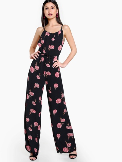 Floral Print Low Back Spaghetti Strap Jumpsuit BLACK