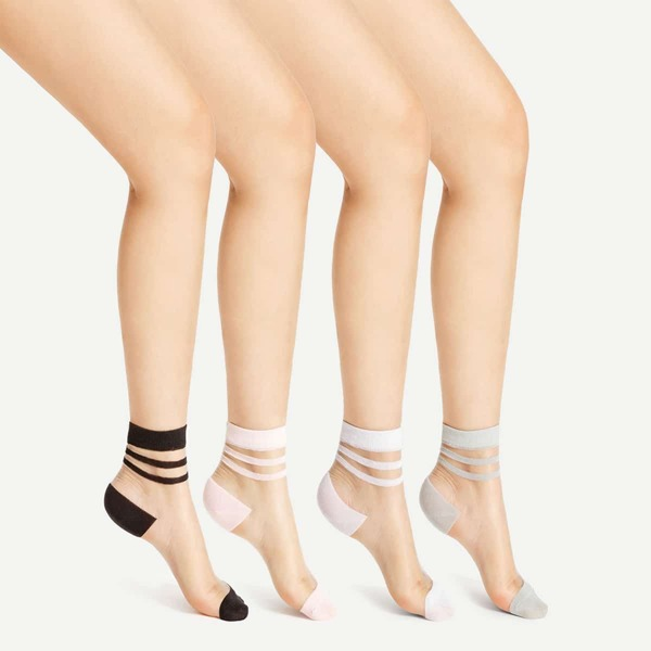 Striped Cuff Sheer Ankle Socks 4pairs, Multicolor