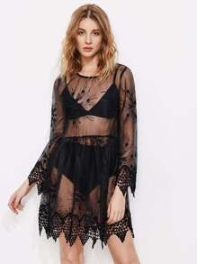 Contrast Lace Mesh Sheer Dress