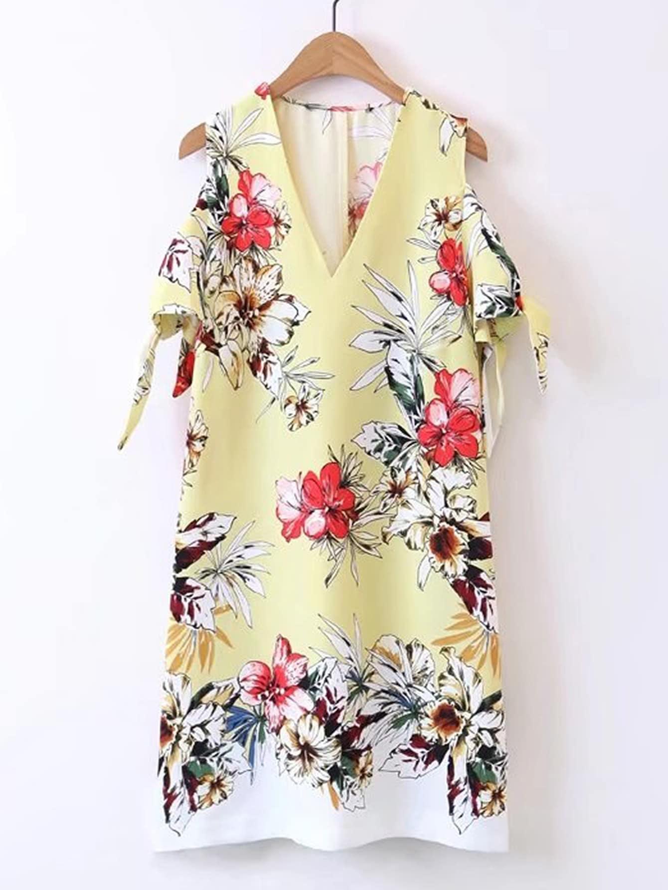 Фото Open Shoulder Knot Sleeve Dress. Купить с доставкой