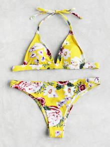Ensemble de bikini triangle imprimé