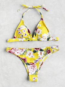 Ensemble de bikini triangle imprimé