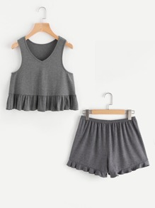 Heather Knit Ruffle Tank Top And Shorts Pajama Set