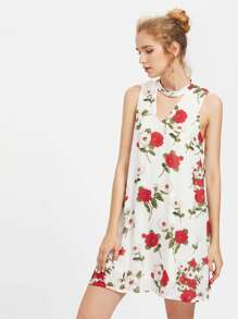 Double V Neck Flower Print Sleeveless Dress