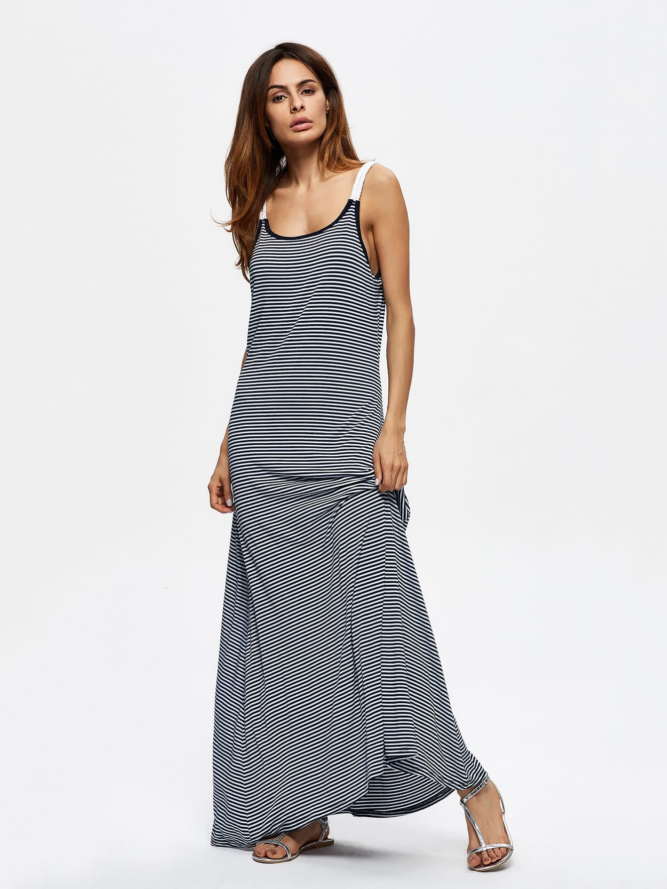 Фото Contrast Striped Maxi Cami Dress. Купить с доставкой