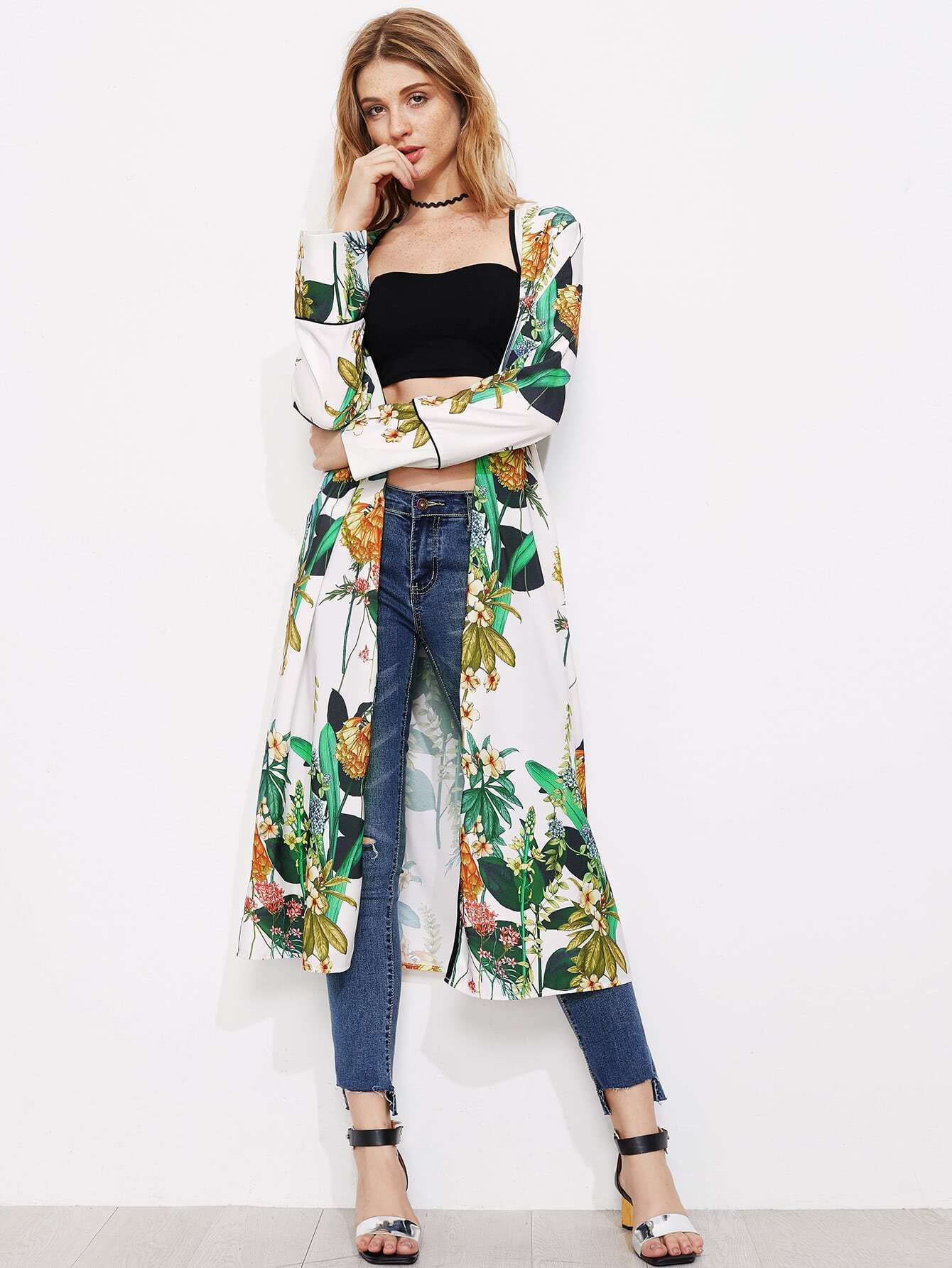 Фото Open Front Longline Kimono. Купить с доставкой