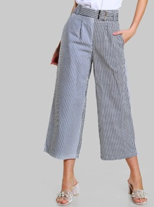 High Waist Belted Striped Pants BLUE