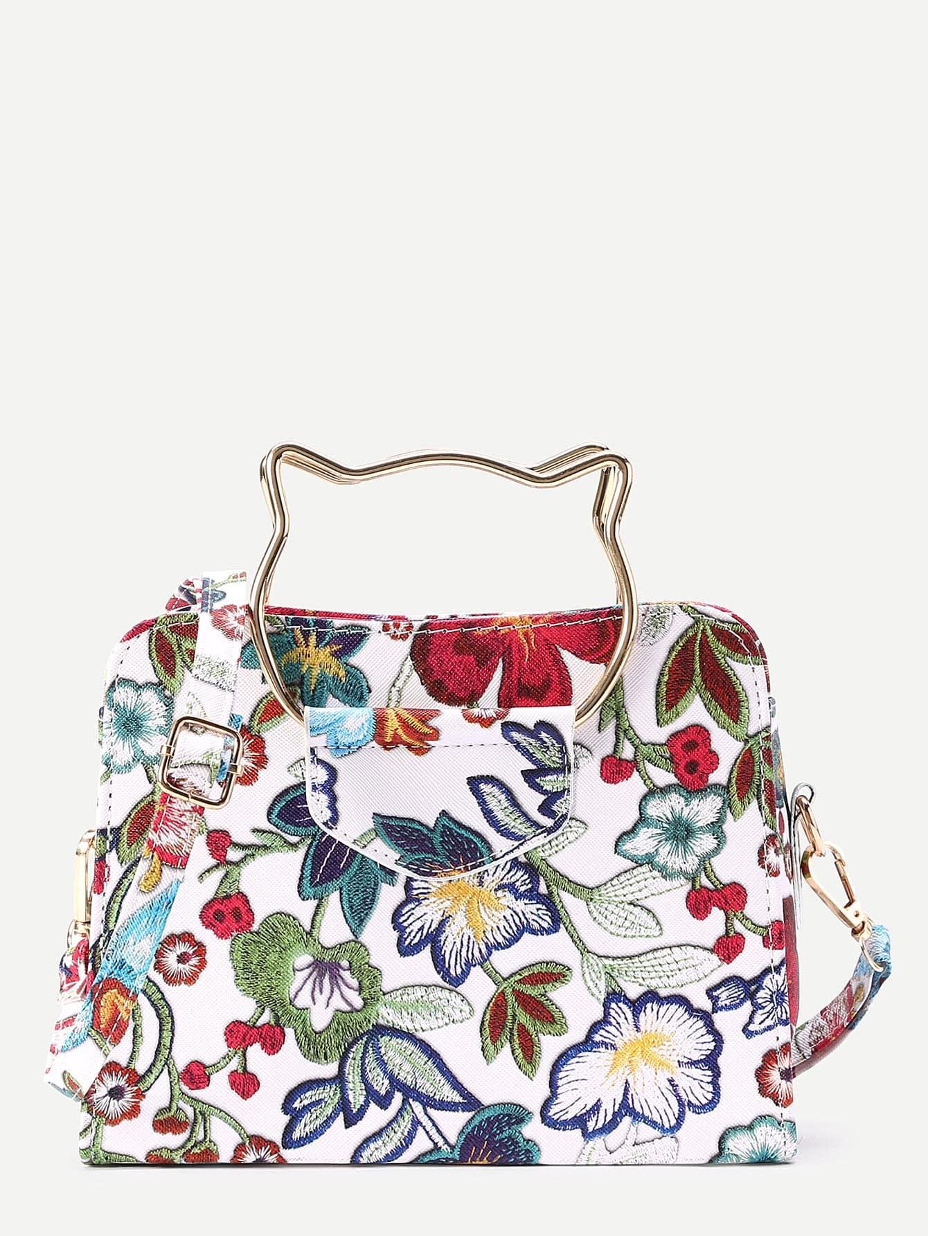 Фото Flower Embroidery Shoulder Bag With Cat Ear Handle. Купить с доставкой