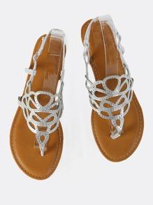 Cutout Metallic Sandal Flats SILVER