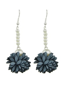 Gray Color Imitation Pearl Flower Danling Earrings