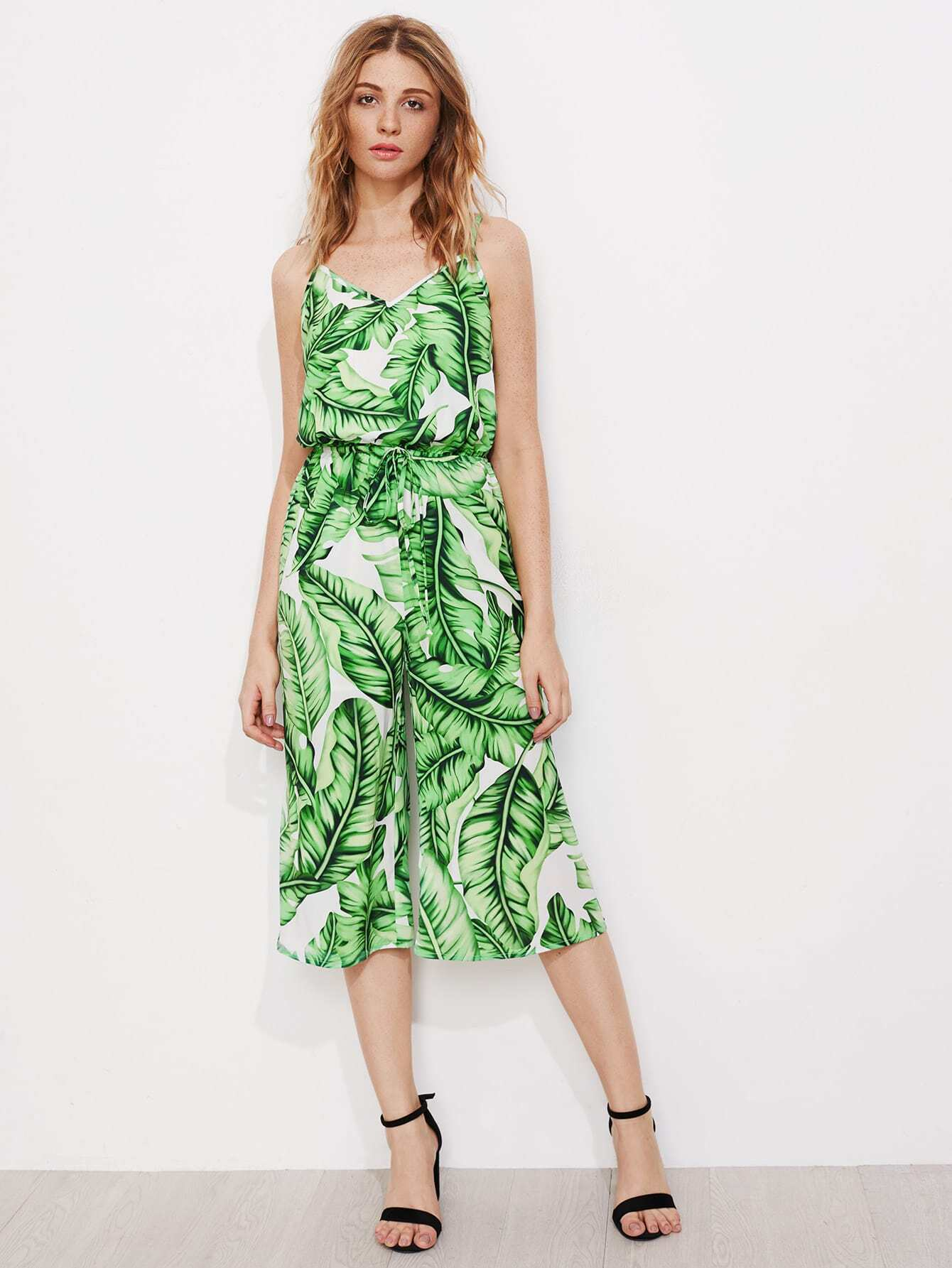 Фото Jungle Leaf Print Drawstring Waist Culotte Cami Jumpsuit. Купить с доставкой