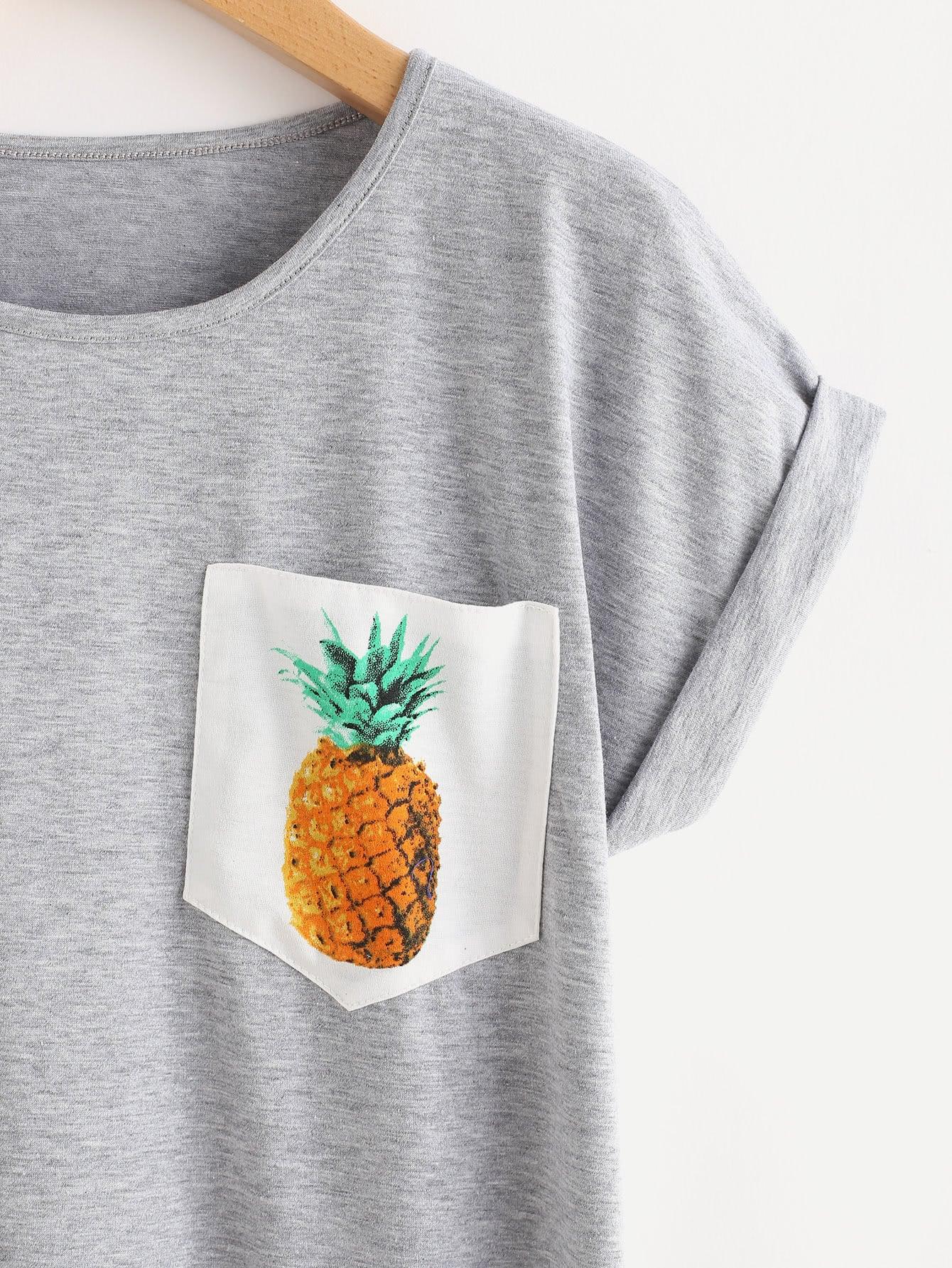 Space Dye Pineapple Print Cuffed Tee