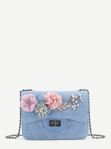 Applique Flower Quilted Denim Bag