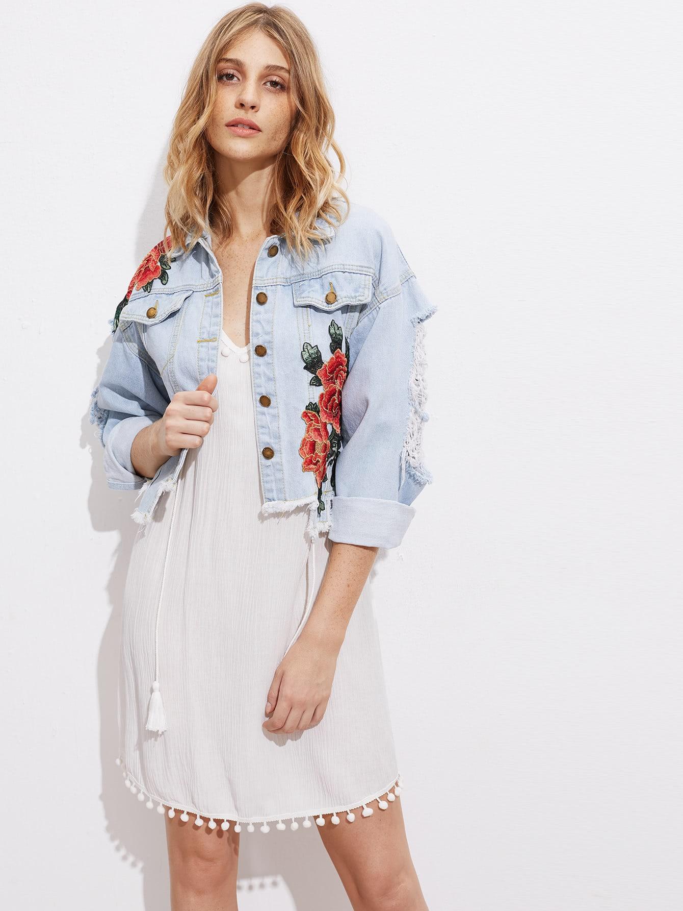 Embroidered Appliques Drop Shoulder Distressed Denim Jacket