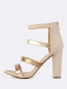 Multi Colored Band Heels NUDE