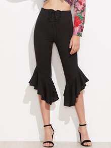 Lace Up Front Asymmetric Ruffle Hem Pants