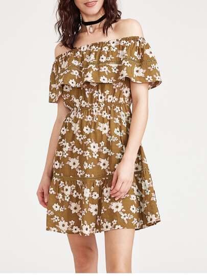 Flounce Layered Neckline Ditsy Print Dress