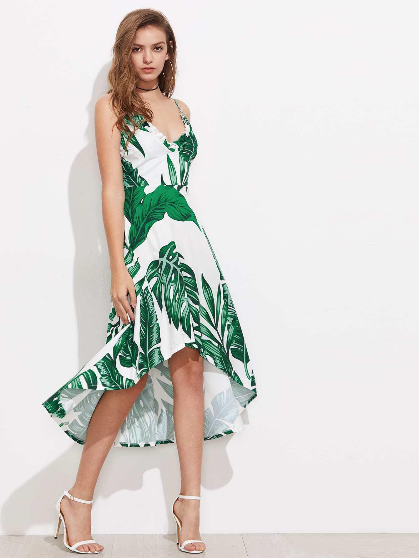 Фото Palm Leaf Print O-Ring Frill Trim Dip Hem Dress. Купить с доставкой