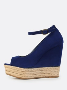 Suede Peep Toe Wedges NAVY