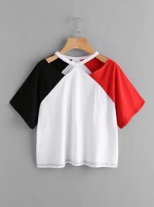 Tee-shirt color-block découpé