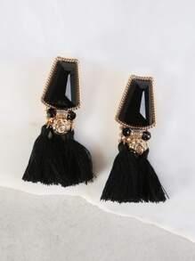 Stone & Dangling Tassel Earrings GOLD BLACK