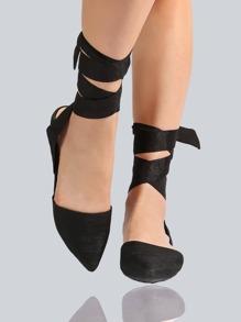 Point Toe Wrap Up Flats BLACK