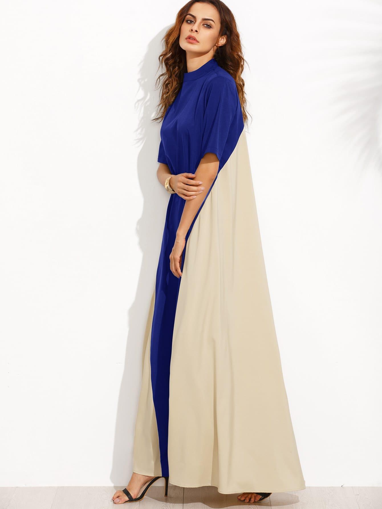 Фото Color Block Mock Neck Floor Length Tent Dress. Купить с доставкой