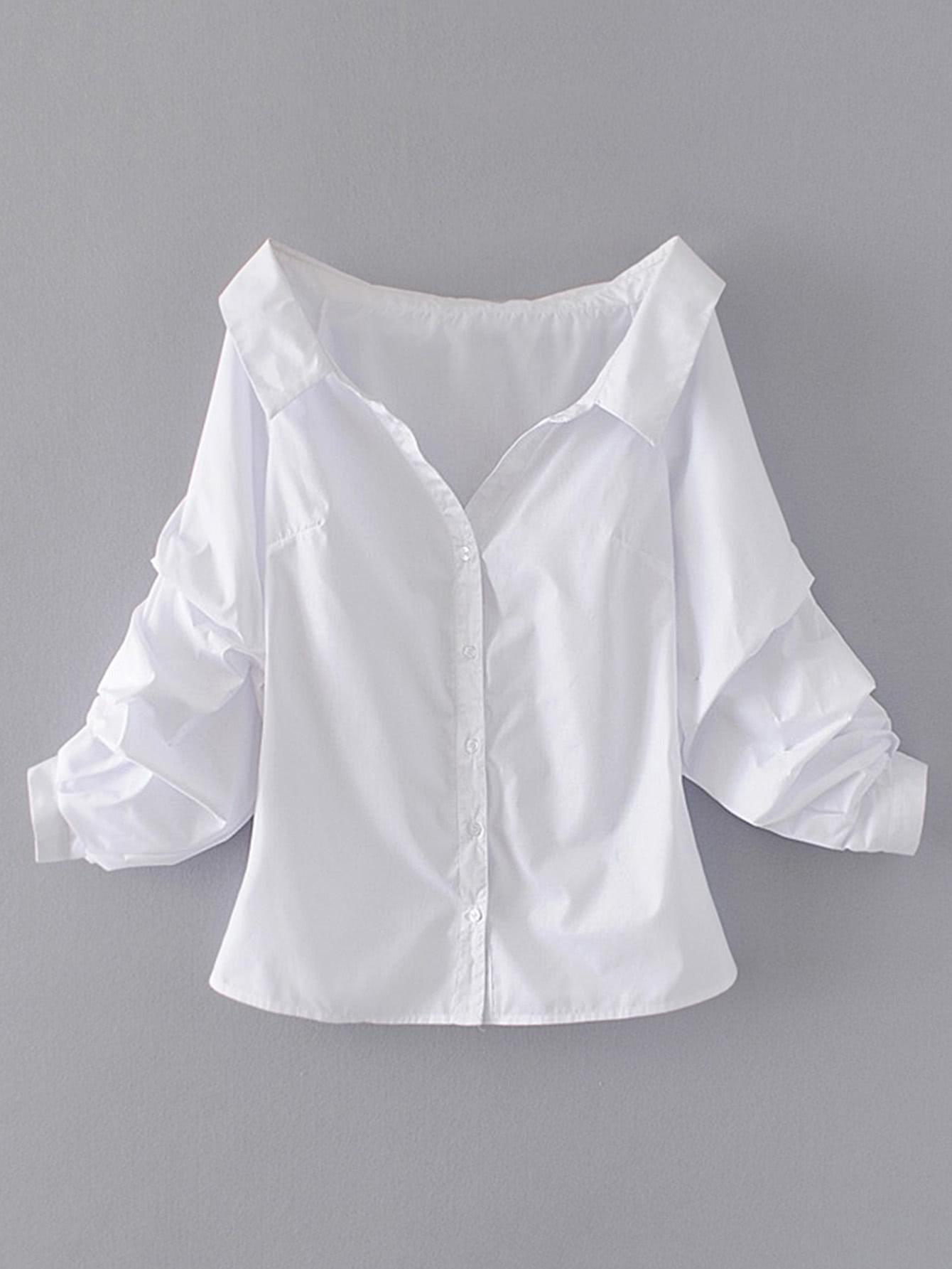 Купить Модная блуза на кнопках с открытыми плечами, null, SheIn