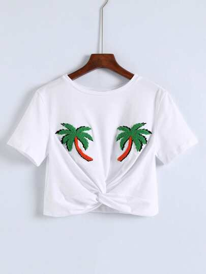 Palm Tree Pattern Knot Front Crop Tee