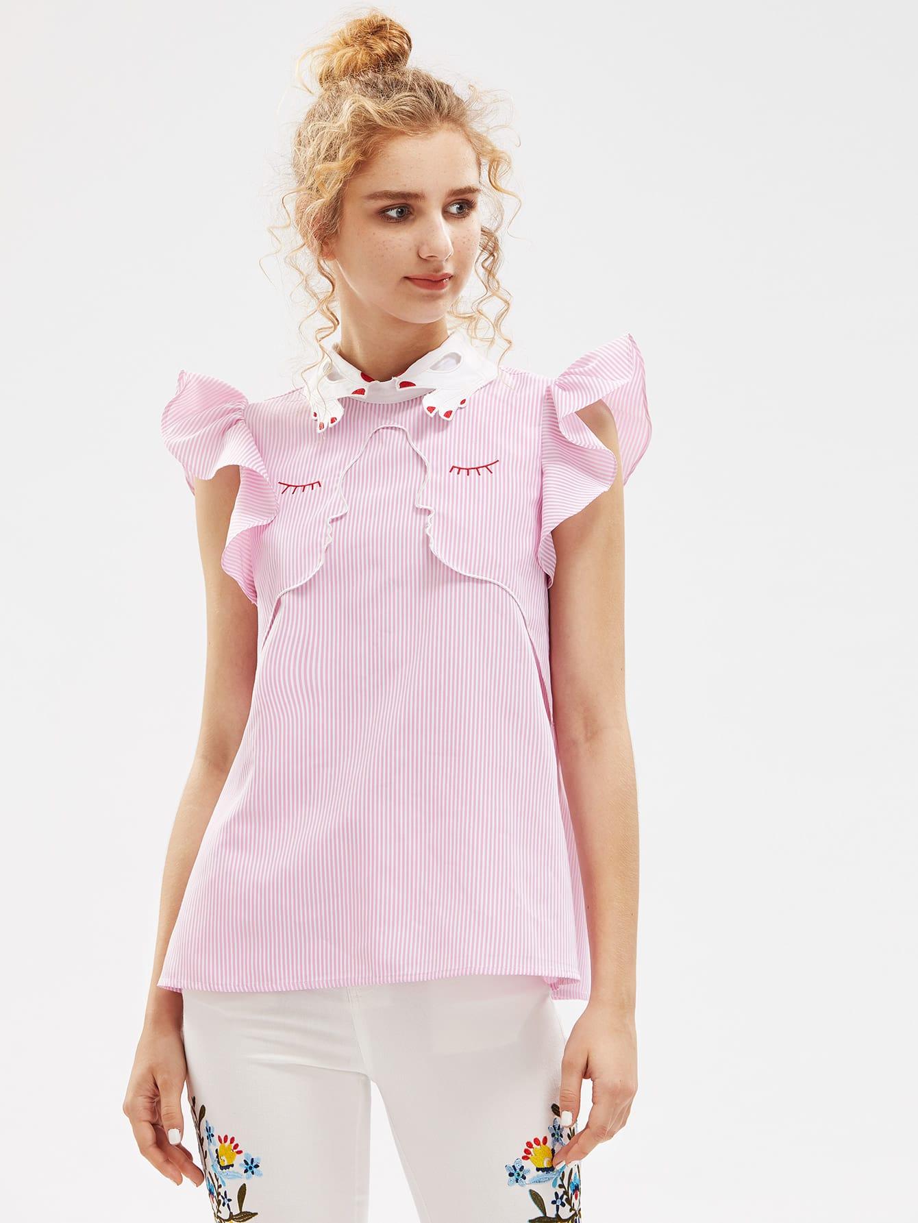Фото Hand Shape Collar Flutter Sleeve Face Outline Embroidered Blouse. Купить с доставкой