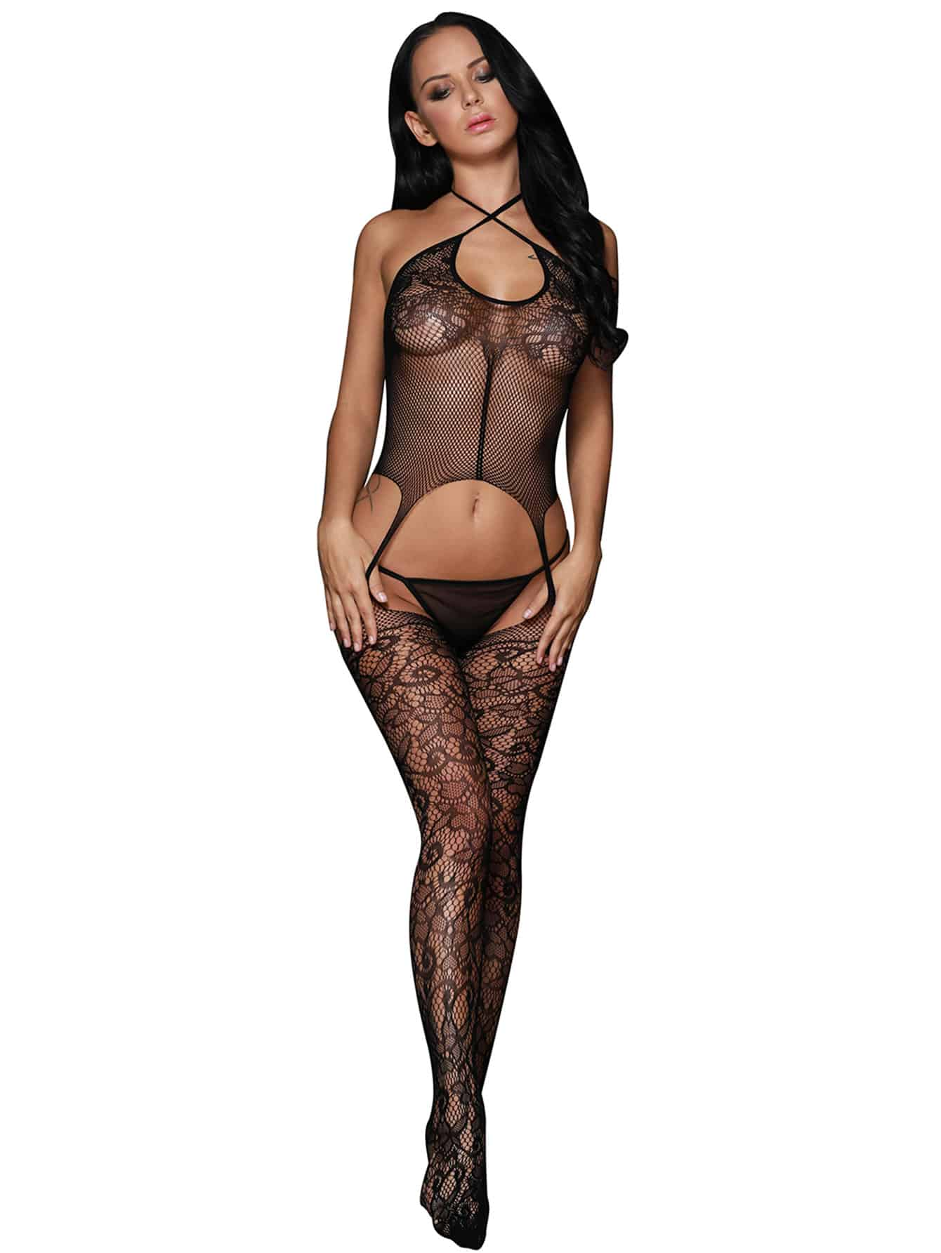 Criss Cross Halter Floral Lace Bodystocking criss cross strappy bodystocking