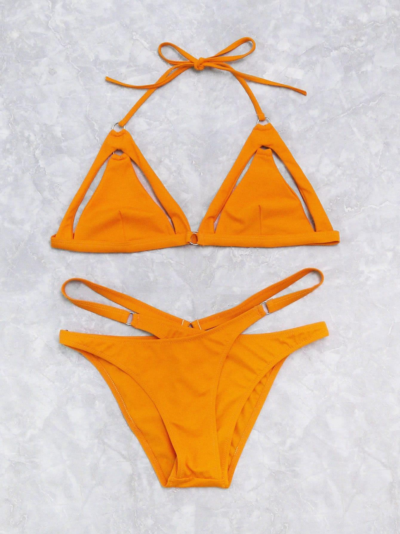 Cutout Detail Cross Triangle Bikini Set цена 2017